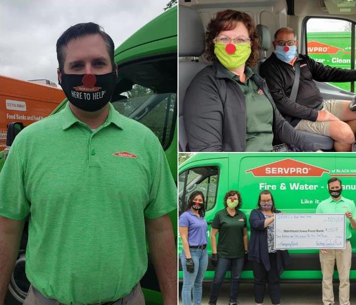 Collage of three photos; Images of SERVPRO employees wearing red noses on their fast mask and grinning.